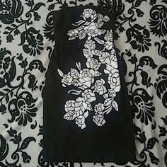 Hot Sale Whbm Black Floral Dress Gown