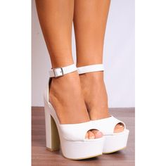 Shoe Closet White Ankle Straps Strappy Sandals Peep Toes High Heels ($35) ❤ liked on Polyvore featuring shoes, sandals, white, white platform shoes, platform sandals, white block heel sandals, high heel sandals and strappy platform sandals