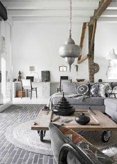 my scandinavian home: Bohemian living room with silver accents and shades of grey Scandinavian Home, Home And Living, Decor, Interior Design, Home Living Room, Dream Decor, Interior, Boho Chic Interior, Home Decor