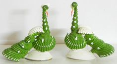 Pair of Green Peacock (Shell))