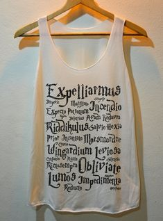 Harry potter spells shirt. Dang. I NEED this!!