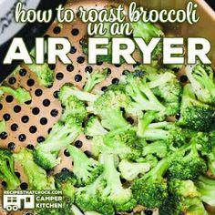 How to Roast Broccoli in an Air Fryer with Frozen Broccoli Florets, Oil, Garlic Powder, Onion Powder, Salt, Pepper.