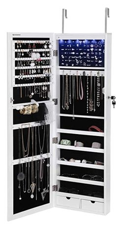SONGMICS 6 LEDs Jewelry Cabinet Lockable Wall Door Mounted Jewelry Armoire Organizer with Mirror 2 Drawers White The confusion and frustration days Lifehacks: Organize Your Tiny Closet! – Just Imagine – Daily Dose of CreativityIf you have p Teen Bedroom Organization, Organizing Walk In Closet, Bedroom Storage, Jewelry Organization, Organization Ideas, Bedroom Decor, Jewellery Storage, Storage Ideas, Messy Bedroom