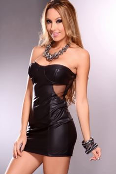 Black Strapless Mesh Detailing Faux Leather Sexy Party Mini Dress thisby