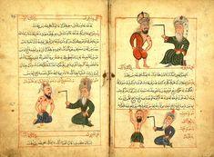 Minyatür-Miniature. Figures of treatment of various illnesses. Cerrahiyetü'l Haniyye, Şerafeddin Sabuncuoğlu. Fatih National Library, İstanbul, Türkiye.