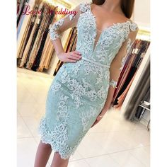 New arrival 2019 sexy sheer v neck lace applique half sleeves custom made mint green knee length formal cocktail party gown Knee Length Cocktail Dress, Sequin Cocktail Dress, Ball Gowns Prom, Party Gowns, Prom Party, Knee Length Dresses, Short Dresses, Elegant Homecoming Dresses, Prom Dress