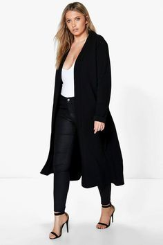 980bc596013 Plus Size Longline Crepe Duster Jacket Black. See More. Plus Lexi Waterfall  Duster
