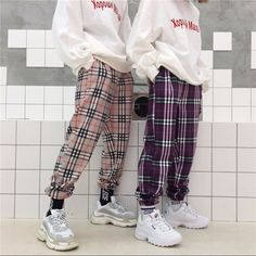 Cuffed nova checked pants One size fits the most Please allow 1-2 weeks for this item to arrive
