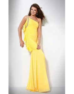 Chiffon Ruching Beaded One Shoulder Mermaid Prom / Evening Dress on Sale at Persun.co.uk