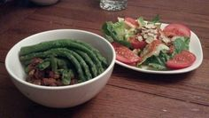 Jan 7: Brown rice bowl with green goddess dressing, berebere pinto beans, radish greens, and asparagus.  Served with romaine salad with roasted red pepper dressing