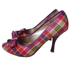 Bakers Plaid Purple Pink Peep Open Toe Heels Shoes Pumps 8 8M 8B Medium Erin  #Bakers #PumpsClassics #Party