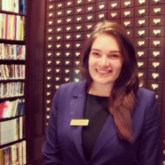 """Say """"Hi"""" to Justine, one of the smiling faces you'll see at the #LibraryHotel Front Desk! She loves art and is a bit of a comedienne too. Her favorite book is 'The Handmaid's Tale' by Margaret Atwood."""