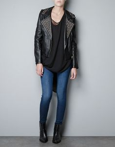 LEATHER BIKER JACKET - Blazers - Woman - ZARA