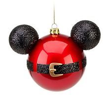 Mickey Mouse Icon Santa Belt Glass Ornament Christmas Disney Theme Parks NEW
