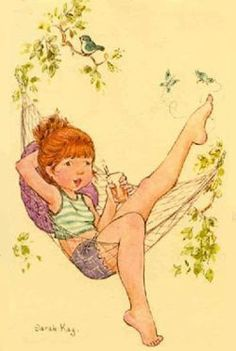 Sarah Kay: Girl in her hammock Sara Kay, Les Themes, Vintage Drawing, Picture Postcards, Holly Hobbie, Creative Pictures, My Childhood Memories, Australian Artists, Illustrations