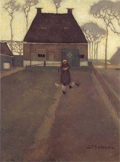 Jan Mankes - Ouderlijk huis in De Knijpe (1914)  I like the trees in light grey in the background