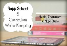 Supp School & Curriculum We're Keeping: Bible, Character & Life Skills - My Life as a Rinnagade
