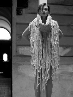 Collection of woolen women's clothing by Jana Mikešová  #wool #fashion #macrame #dress #scarf #janamikesova #shooting #photo #budapest https://www.facebook.com/JanaMikesovaFashionDesigner