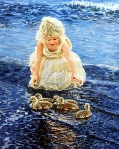 """Little Girl and Ducklings Image Size 16""""W x 20H"""" Open Edition"""
