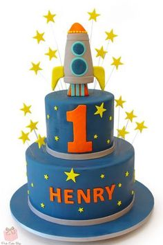Henry's First Birthday Rocketship Birthday Cake