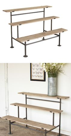 Bring your space to brand new heights with this handsome Terrence Display Unit. Made with rustic, natural-finished wood surfaces and industrial-style metal framing, this three-tier unit has a cool, urb...  Find the Terrence Display Unit, as seen in the The Industrial Botanist Collection at http://dotandbo.com/collections/the-industrial-botanist?utm_source=pinterest&utm_medium=organic&db_sku=119326