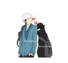 kumpulan kartun romantis parf 3 - my ely Muslim Couple Quotes, Cute Muslim Couples, Cute Couples, Muslim Girls, Cute Couple Art, Cute Couple Pictures, Couple Cartoon, Girl Cartoon, Marriage Cartoon