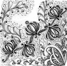 tangle Dragonair and a new one called Pubfleur by Cris, Certified Zentangle Teacher, CZT