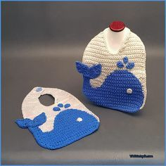 Crochet Tutorial: The Blue Whale Baby Bib Save those cute outfits and protect the front of your baby's clothing with The Blue Whale Baby Bib! This cotton bib uses a graphing technique to create this fun aquatic themed infant accessor… Crochet Whale, Crochet Baby Bibs, Crochet Baby Clothes, Crochet For Boys, Baby Blanket Crochet, Baby Knitting, Free Crochet, Easy Crochet, Nautical Crochet