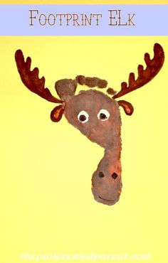 Footprint Elk Craft - Footprint Crafts A-Z E is for elk