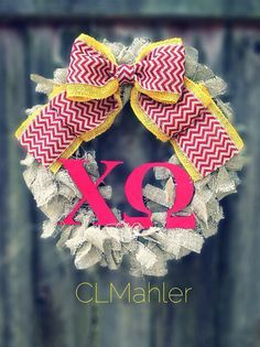 Chi Omega Sorority burlap wreath