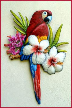 "Scarlet Macaw Wall Hanging - Painted Metal Parrot Tropical Decor - 26"" x 18"""