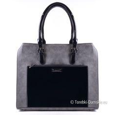 Szaro-czarna duża torba damska A4, lakierowane elementy - elegancka teczka w modnej kolorystyce. Zobacz inne zdjęcia tego modelu - kliknij tutaj -> http://torebki-damskie.eu/szare/1317-szaro-czarna-torba-lakierowana-kiesze-z-przodu-miesci-a4.html