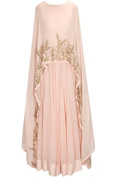 Pratyusha Garimella Blush pink embellished cape gown/anarkali available only at Pernia's Pop Up Shop.