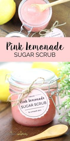 Homemade Pink Lemonade Sugar Scrub is an easy DIY idea to pamper yourself or give as a lovely gift. It's an all natural beauty product that smells wonderful!