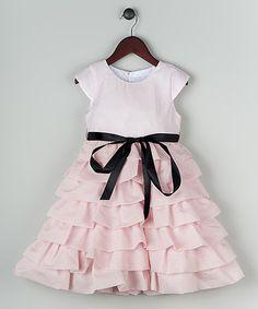 Look at this #zulilyfind! Pink Organza Chiffon Tiered Dress - Toddler & Girls #zulilyfinds