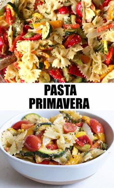 This delicious Healthy Pasta Primavera recipe is studded with flavorful and seasonal vegetables, Garlic Herb Butter and Parmesan cheese. Switch up the noodles based on what you have on hand. Be sure to watch the recipe video too! Veggie Pasta Recipes, Veggie Dishes, Pasta Dishes, Roasted Veggie Pasta Recipe, Herb Pasta Recipe, Vegetable Meals, Feta Cheese Recipes, Healthy Vegetable Recipes, Spinach Recipes