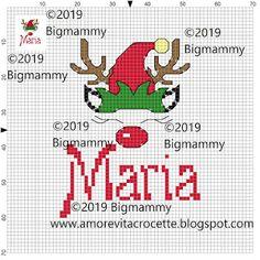 Maria Mena, Hama Beads, Projects To Try, Cross Stitch, Christmas, Elf, Home, Punto De Cruz, Navidad