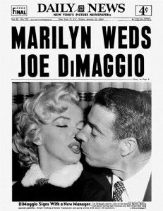 Daily News front page dated Jan. 1954 Headlines: MARILYN WEDS JOE DiMAGGIO DiMaggio Signs With A New Manager. Joe DiMaggio plants a kiss on the luscious Marilyn Monroe just before leaving San Francisco City Hall where they were married yesterday. Joe Dimaggio, Vol New York, Monsieur Madame, Newspaper Headlines, Daily News Newspaper, Vintage Newspaper, Vintage Magazines, New York Pictures, San Francisco