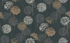 Dandelion Flower (320912) - Albany Wallpapers - A contemporary dandelion head floral design, enhanced with a textured matt off white and coffee floral print on a soft glitter satin black background. More colours are available. Please request a sample for true colour match.