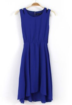 Blue Sleeveless Off the Shoulder Pleated Chiffon Dress
