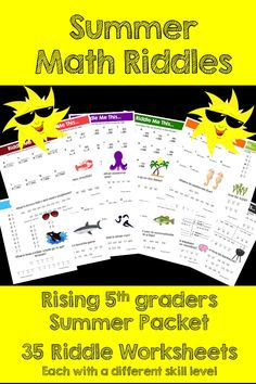 Make Math Review FUN this Summer! This activity is full of computation practice. The students also have a goal of solving a riddle at the end. It is a great way to combine fun and learning! The Pack includes different riddle worksheets at varying levels.The Pack includes 35 different riddle pages.