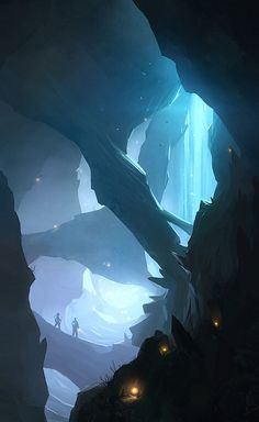 This is an awesome piece of concept art that generally uses the colour blue, and using electric blue for the absolute light areas. I like the eeriness of the image and how there are random(?) glowing orbs of orange which breaks up the picture so you have yo focus on more areas than just where the figures are.