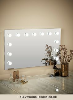 Hollywood Mirror Wall Mounted XL | Makeup Mirror with Lights | Dressing Table Mirror with Lights | Vanity Mirror with Lights | Illuminated Makeup Mirror | Holllywood Mirror UK | Light Up Makeup Mirror | Hollywood Mirrors | Mirror Size 60 X 100cm | https://www.hollywoodmirrors.co.uk/products/large-vanity-light-bulb-mirror The largest version of our vanity light bulb mirror; it's the makeup mirror for many Hollywood stars. Our handmade illuminating mirrors are for both home & professional use!