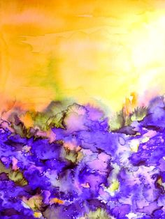 Yellow and Purple - Lavender - watercolours