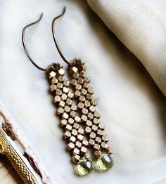 Green Crystal Brass Drop Earrings | Jewelry Earrings | Caprichosa Jewelry | Scoutmob Shoppe | Product Detail