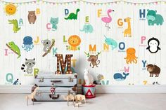 Self Adhesive Peel and Stick Animals Alphabet Wallpaper Removable Colorful Alphabet with Cartoon Animals Wall Mural Child Room Nursery Alphabet Wallpaper, Nursery Wallpaper, Kids Wallpaper, Animal Wallpaper, Textured Wallpaper, Textured Walls, Wallpaper Ideas, Kids Room Murals, Murals For Kids