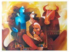 Indian Art Gallery, Indian Artwork, Indian Art Paintings, Modern Art Paintings, Original Paintings, Ganesha Painting, Lord Shiva Painting, Ganesha Art, Shiva Art