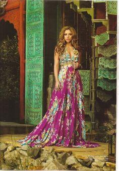 Bohemian maxi dress: Shakira. ~ trish   #boho #bohemian #clothes #fashion #shakira #gypsy #maxidress #latina