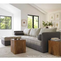 Eco Linen Sectional Sleeper Sofa With Chaise Lounge | VivaTerra