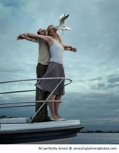 Titanic scene gone wrong FAIL – When a seagull just does not want these two love birds to enjoy that breeze.